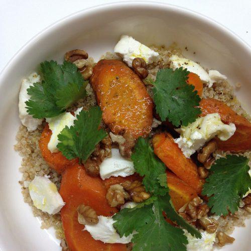 Carottes rôties au cumin et quinoa